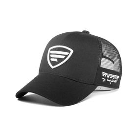 white-black logo/black tracker cap