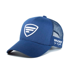 white logo/blue tracker cap