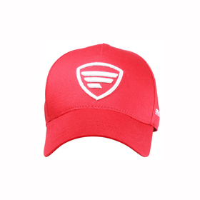 white logo/red baseball cap